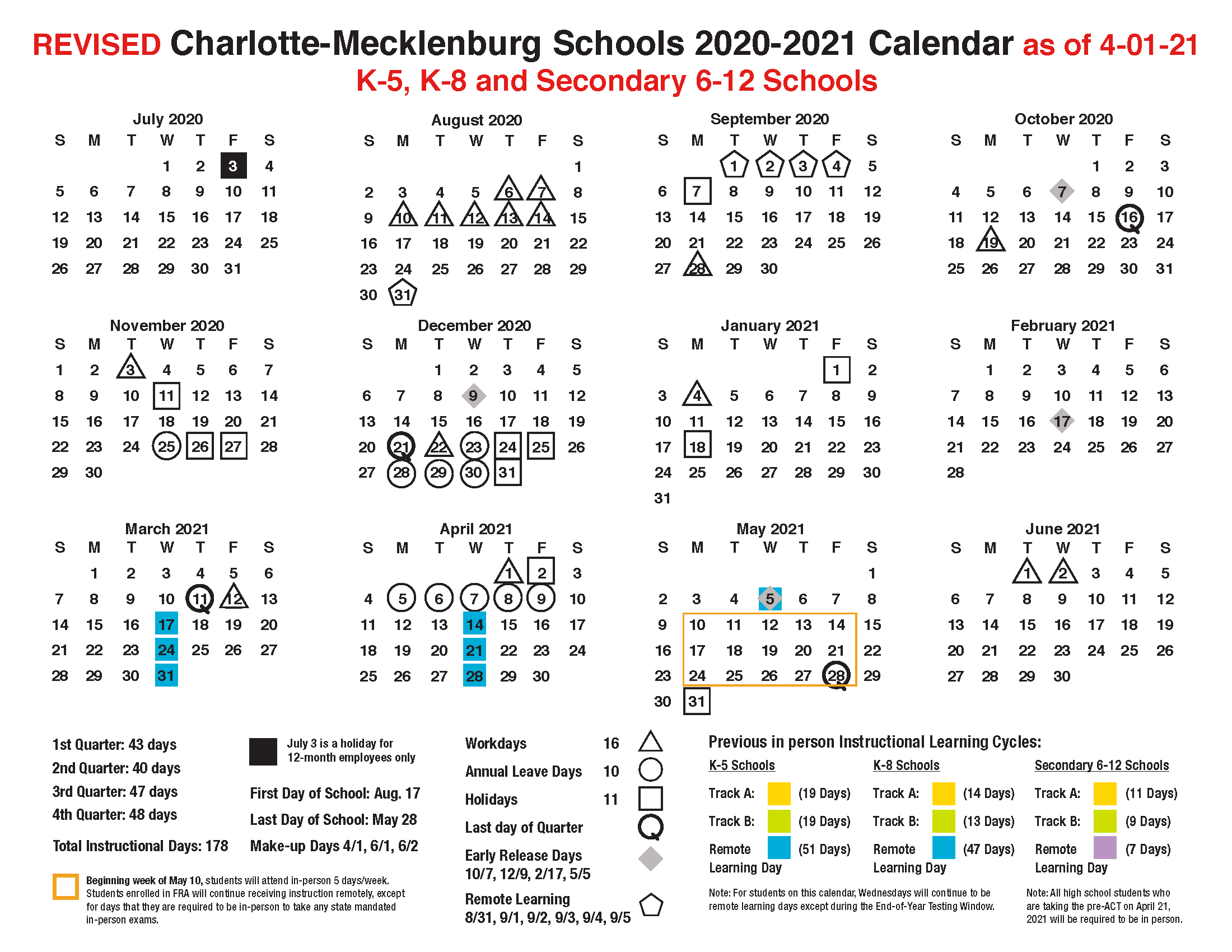 2020-2021 K-5, K-8, and Secondary 6-12 Academic Calendar (Revised 4-1-21).png